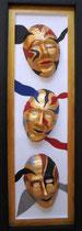 Maskerade, 2015, Mischtechnik mit selbsgefertigten Masken, BxH 32x103cm