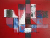 Carées auf Rot, 2016, Acryl auf Leinwand, BxH 70x50 cm