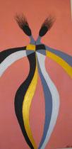 Grazielles Duo  2011; Acryl auf Leinwand; BxH  30x60 cm