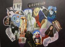 Menschen, 2016, Collage auf Leinwand, BxH 75x58 cm