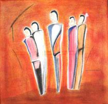 Die Fünf, 2013, Pastell auf Leinwand, BxH 60x60cm