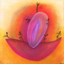 Auf und Ab des Lebens, 2012, Pastell auf Leinwand, BxH 58x58 cm