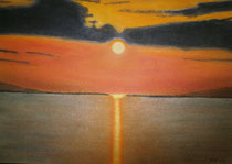 Abendstimmung am Wasser, 2013, Pastell auf Papier, BxH 48x36cm