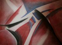 Rot, blau, schwarz, 2014, Pastell auf Papier, BxH 60x42 cm