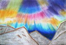 Nordlicht im Gebirge, 2015, Pastell auf Papier, BxH 60x42cm
