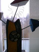Herr Lustig  2004; Mischtechnik auf Gasbeton (Ytong); Grösse BxH  85x115 cm