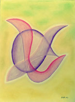 Beflügelt, 2012, Pastell auf Papier, BxH 36x48 cm