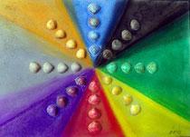 Farbpalette mit Muscheln, 2012, Pastell auf Karton, BxH 30x42 cm