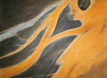 Fluss auf dem Candeyar-Sander Island, 2013, Pastell auf Papier, BxH 48x36cm