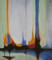 Fontänen, 2013, Pastell auf Leinwand, BxH 2x 25x58cm