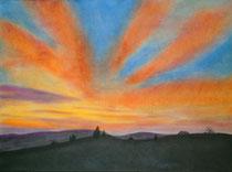 Abendstimmung, 2013, Pastell auf Papier, BxH 42x30cm
