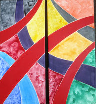 Schwungvoll, 2015, Acryl auf Leinwand, BxH 2x 26x58cm