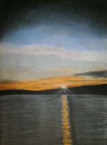 Sonnenuntergang, 2013, Pastell auf Papier, BxH 30x41cm