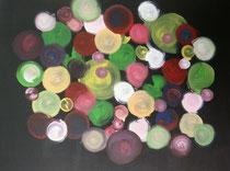 Bunte Kreise, 2016, Acryl auf Leinwand, BxH 50x40 cm