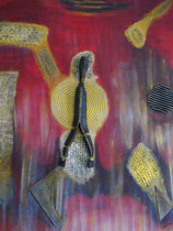 Träumer auf Gold  2010; Mischtechnik auf Leinwand; BxH  60x70cm