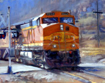 """""""Train Crossing"""" 11 x 14 **Selected for 22nd Annual Oil Painters of Amercia National Exhibition :Sold"""