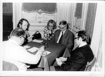 1970 Lawrence Davies, von Links nach rechts, Stefan Propst, Frau Zeh, Paul Rehberger, (Prof. DDr.) Friedrich Lottspeich