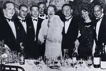 Sieger Austria Team 1937 World Championships: Karl Schneider, Hans Jellinek, Edouard Frischauer, Paul Stern (Capt.), Josephine Culbertson (US), Walter Herbert, Helen Sobel (US), and Karl von Blöhdorn