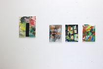 Atelieransicht: Monolit, 2014, Öl auf Leinwand, 50x40cm; Please don't go I love you so, 2014, Öl auf Leinwand, 40x30cm; o.T., 2014, Öl und Holz auf Leinwand, 40x30cm; Moderne, 2014, Öl auf Leinwand, 40x30cm