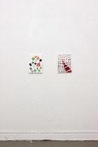 Atelieransicht: Links, 2014, Öl auf Leinwand, 40x30cm; matrix and layers, 2014, Öl auf Leinwand, 40x30cm