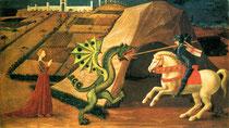 Paolo Ucello, Saint-George et le dragon, Huile sur toile, 52 x 90 cm, Musée Jacquemart-André, Paris,1458-60.