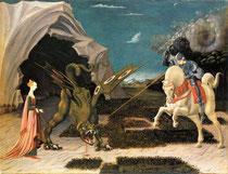 Paolo Ucello, Saint-George et le dragon, Huile sur toile, 57 x 73 cm, National Gallery, London, 1456.