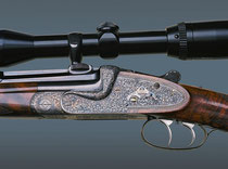 Single Barrel Rifle engraved with English Large Scroll