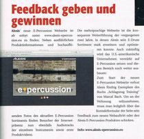 2011_02_Drumheads Alesis News / Buch Verlosung Schlagzeug Training