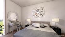 Größenverhältnisse ersichtlich durch Wohnbeispiel Schlafzimmer gerendert