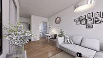 Raumaufteilung Wohnen/Essen visuell dargestellt in 3D