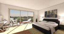 Visualisierung Schlafzimmer mit Balkon