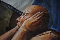 Pintura al fresco: cautivo que no quiere oir.