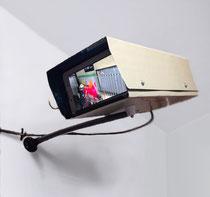 《落描き禁止―けいかんびかすいしん―》2013年-2014年 監視カメラ型モニター