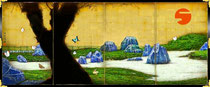Shibuya: Blue Tearoom in Dry Landscape Garden Folding (Screenrough sketch), 2013
