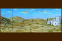"""""""Krippen Hintergrundbild"""" für die Pfarrkirche Wolfsegg am Hausruck. Dreiteiliges Ölbild auf Leinwand. Gesamtgröße 80 x 200 cm    2015"""