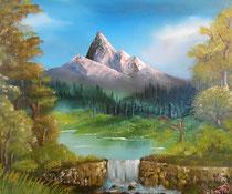"""Idylle am See"" Öl auf Leinwand (Bob Ross) 60 x 50cm (190.-)"