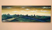 """""""Abendstimmung in Gold"""" Acryl auf Leinwand, 120 x 40 x 4cm  (verkauft)"""