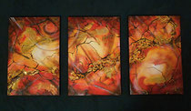 """""""Inferno"""" Acryl auf Leinwand, Triptychon je 40 x 60cm  (verkauft)"""
