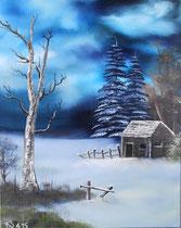 """Winter Wunderland"" Öl auf Leinwand (Bob Ross) 40 x 50cm (150.-)"