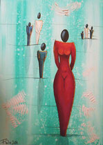 """Lady in Red"" Acryl auf Leinwand, 50 x 70cm (220.-)"