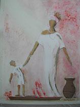 Viens maman..., peinture réalisée avec des produits 100% naturels (suie, betterave, café, chocolat, paprika...)