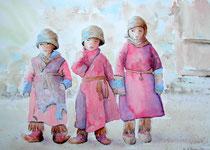 """""""Enfants du Zanskar"""", aquarelle sur papier"""