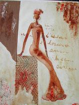 Africaine, peinture réalisée avec des produits 100% naturels (café, thé, chocolat, paprika, carton...)