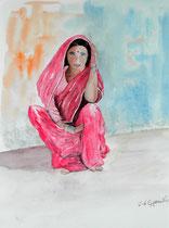 """""""Le sari rose"""", aquarelle sur papier"""