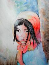 """""""Petite fille tibétaine"""", aquarelle sur papier"""