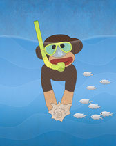 Sock Monkey Snorkeling