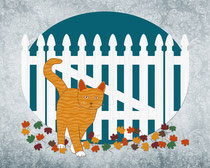 Orange Cat Picket Fence