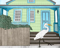 Great Egret and House