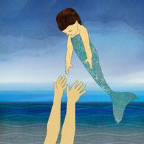 Triton tossing his mermaid daughter