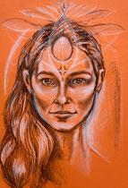 Divine soul - Kohle auf Papier - 35cm x 25cm